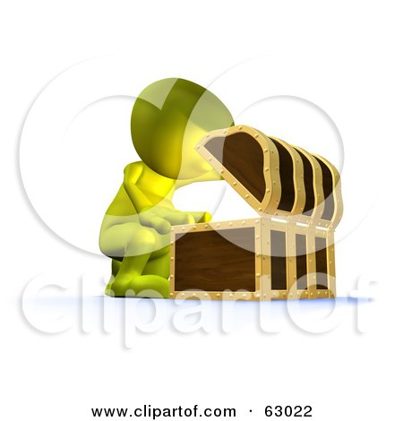 Royalty-Free (RF) Clipart Illustration of a 3d Green Man Opening Up A Treasure Chest by AtStockIllustration