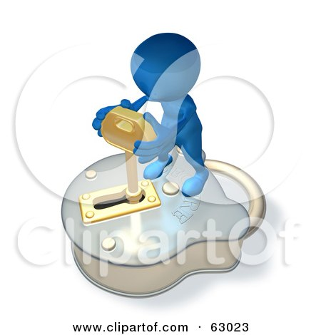 Royalty-Free (RF) Clipart Illustration of a 3d Blue Guy Standing On A Big Padlock And Turning A Key by AtStockIllustration