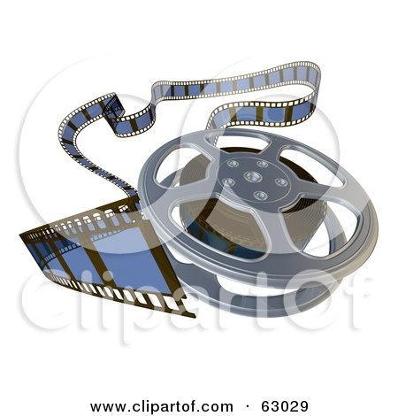 Royalty-Free (RF) Clipart Illustration of a Messy 3d Rendered Film Reel On White by AtStockIllustration