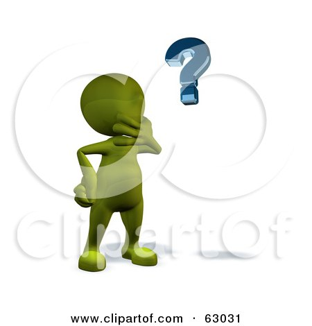 Royalty-Free (RF) Clipart Illustration of a 3d Green Man Pondering And Looking At A Question Mark by AtStockIllustration