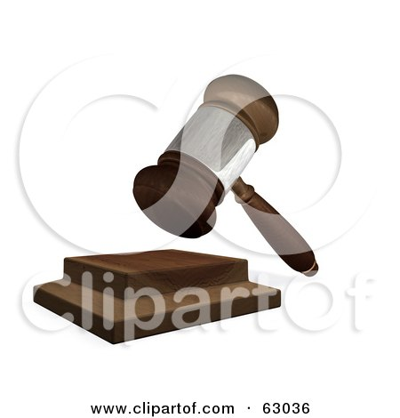 Royalty-Free (RF) Clipart Illustration of a 3d Wooden Judges Gavel Hitting The Block by AtStockIllustration