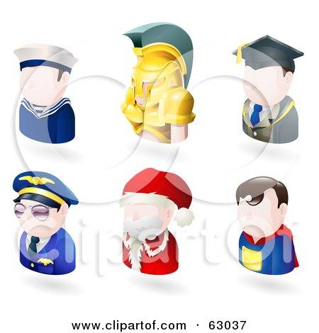 Digital Collage Of Six Avatar People; Sailor, Spartan, Teacher, Pilot, Santa, And A Superhero Posters, Art Prints