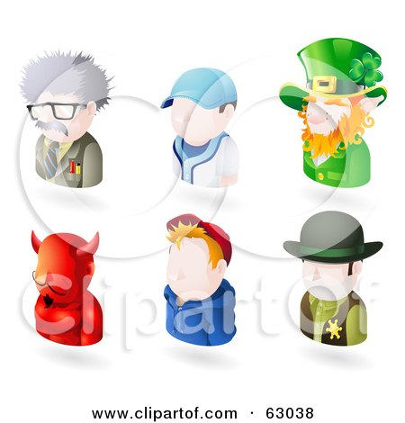 Royalty-Free (RF) Clipart Illustration of a Digital Collage Of Six Avatar People; Scientist, Baseball Player, Leprechaun, Devil, Teenage Boy, And A Sheriff by AtStockIllustration