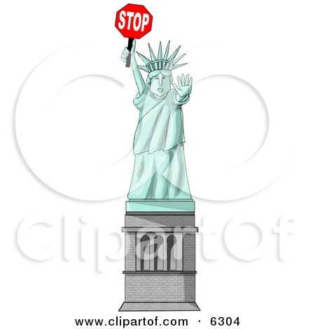 Statue of Liberty Holding a Stop Sign Clipart Picture by djart