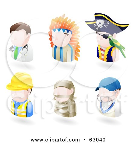 Royalty-Free (RF) Clipart Illustration of a Digital Collage Of Six Avatar People; Doctor, Native American, Pirate, Contractor, Mummy And A Cricket Player by AtStockIllustration