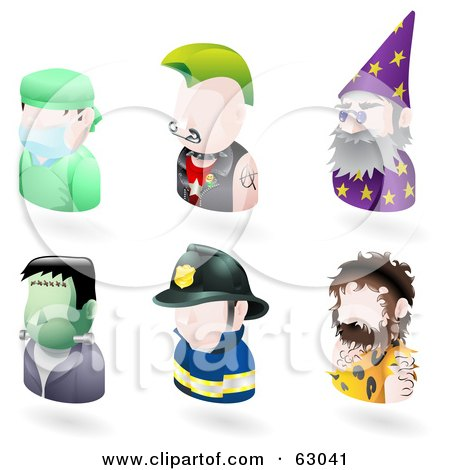 Royalty-Free (RF) Clipart Illustration of a Digital Collage Of Six Avatar People; Surgeon, Punk, Wizard, Frankenstein, Firefighter, And A Caveman by AtStockIllustration
