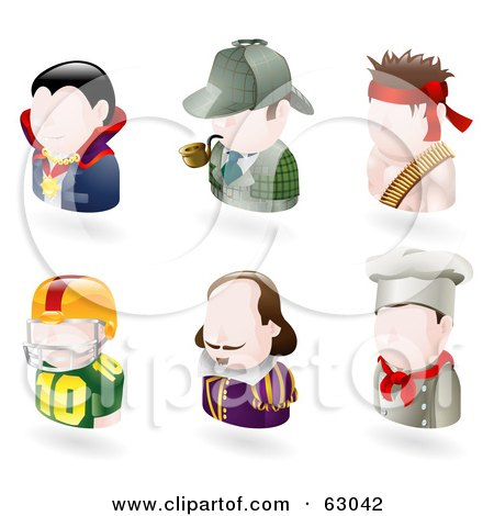 Royalty-Free (RF) Clipart Illustration of a Digital Collage Of Six Avatar People; Vampire, Sherlock Holmes, Rambo, American Football Player, Shakespear, And A Chef by AtStockIllustration