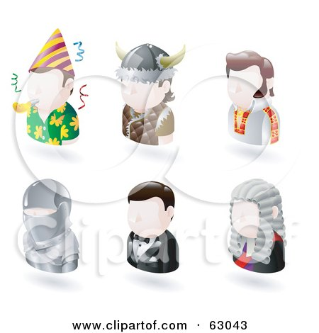 Royalty-Free (RF) Clipart Illustration of a Digital Collage Of Six Avatar People; Party Guy, Viking, Elvis, Knight, James Bond, And A Judge by AtStockIllustration