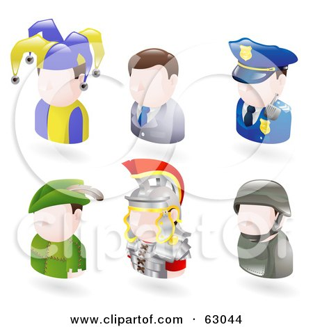 Royalty-Free (RF) Clipart Illustration of a Digital Collage Of Six Avatar People; Jester, Businessman, Police Officer, Robin Hood, Roman Soldier, And A Modern Soldier by AtStockIllustration