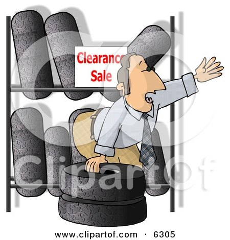 Salesman Trying to Sell Tires On Clearance Posters, Art Prints