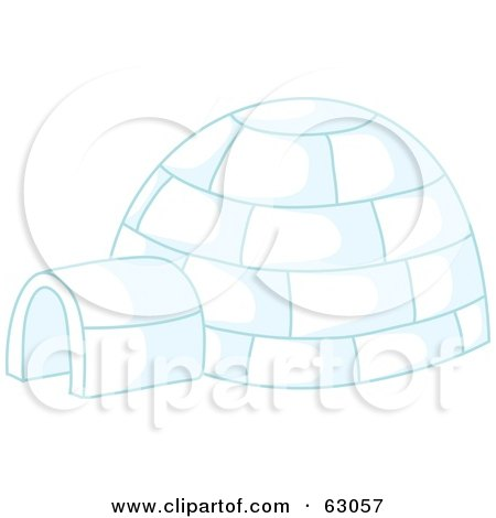 Royalty-Free (RF) Clipart Illustration of an Igloo With Blue Lighting by Rosie Piter