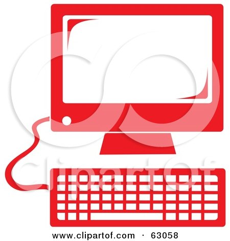 Royalty-Free (RF) Clipart Illustration of a Retro Styled Red Desktop Computer by Rosie Piter