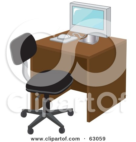 Royalty-Free (RF) Clipart Illustration of a Modern Computer On A Desk With A Black Chair by Rosie Piter