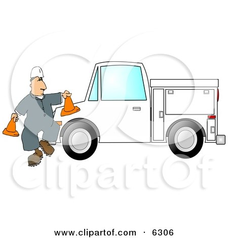 Worker Putting Out Cones Around His Utility Truck Clipart Picture by djart