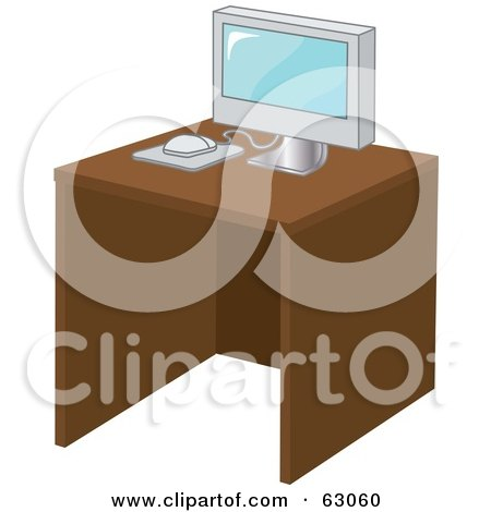 Royalty-Free (RF) Clipart Illustration of a Modern Computer On A Wood Desk by Rosie Piter