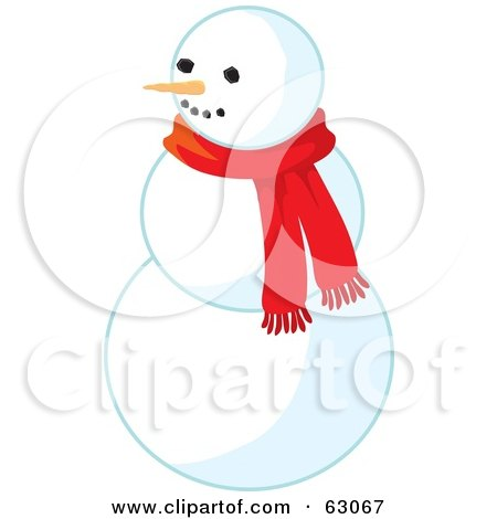 Royalty-Free (RF) Clipart Illustration of a Carrot Nose Snowman Wearing A Red Scarf by Rosie Piter