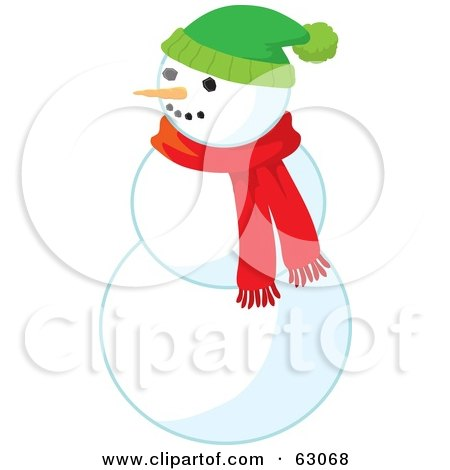 Royalty-Free (RF) Clipart Illustration of a Carrot Nose Snowman Wearing A Red Scarf And Green Hat by Rosie Piter