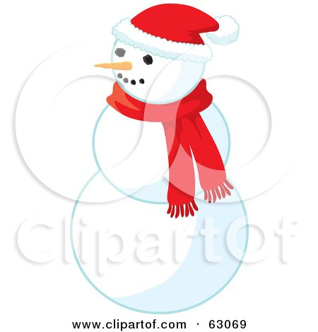Royalty-Free (RF) Clipart Illustration of a Carrot Nose Snowman Wearing A Santa Hat And Red Scarf by Rosie Piter