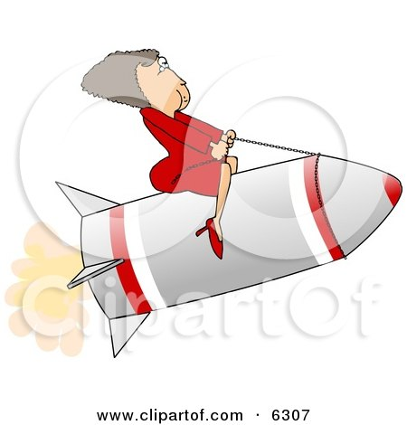 Successful Businesswoman Riding a Rocket Clipart Picture by djart