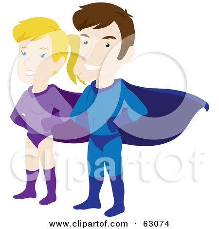 Royalty-Free (RF) Clipart Illustration of a Caucasian Super Hero Couple Standing Proud by Rosie Piter