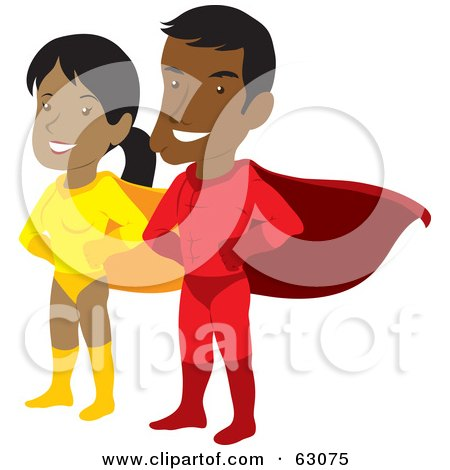 Royalty-Free (RF) Clipart Illustration of a Proud Hispanic Super Hero Couple by Rosie Piter