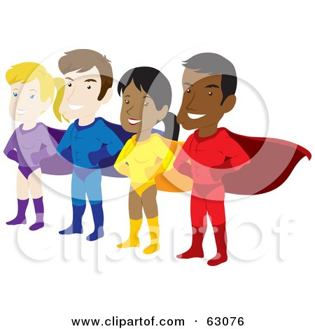 Royalty-Free (RF) Clipart Illustration of a Team Of Male And Female Hispanic And Caucasian Super Heroes by Rosie Piter