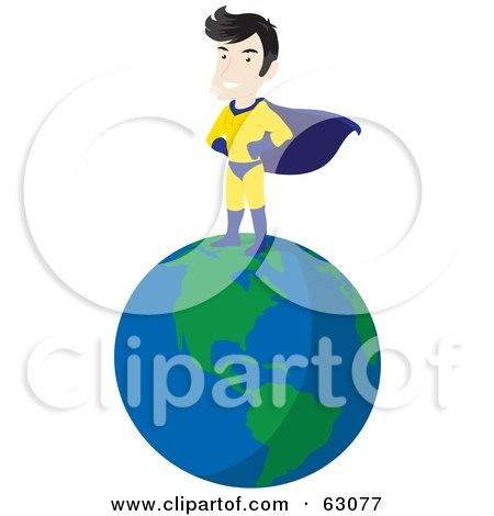Royalty-Free (RF) Clipart Illustration of a Caucasian Super Hero Guy Standing On Top Of The Earth by Rosie Piter