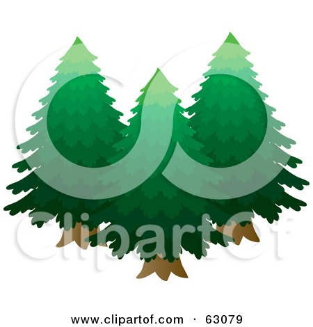 Royalty-Free (RF) Clipart Illustration of Three Lush Green Evergreen Trees by Rosie Piter