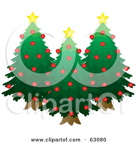 Royalty-Free (RF) Clipart Illustration of Three Evergreen Trees Decked Out In Red Ornaments And Yellow Stars by Rosie Piter
