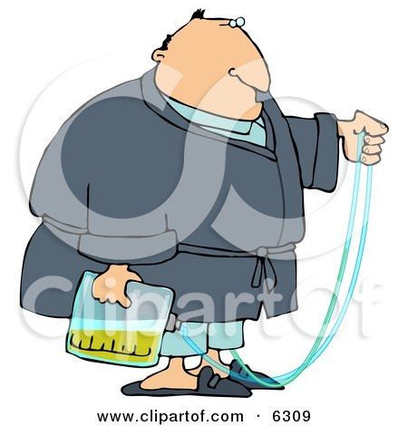 Obese Man with a Medical Condition that Requires the use of a Catheter and Urine Bag Clipart Picture by djart