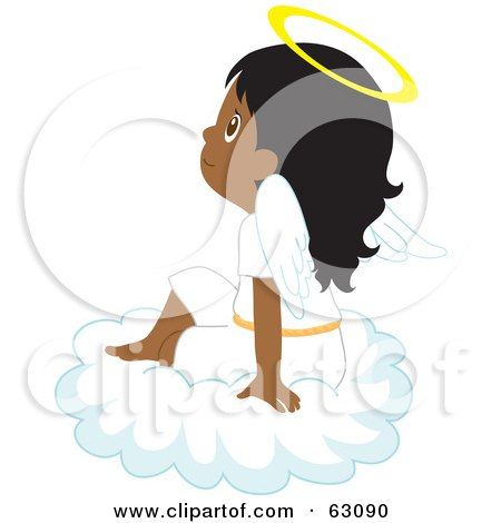 Royalty-Free (RF) Clipart Illustration of an Innocent Indian Angel Girl Sitting On A Cloud by Rosie Piter
