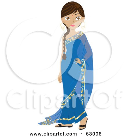 Royalty-Free (RF) Clipart Illustration of a Beautiful Indian Woman Wearing A Bindi And A Blue Dress by Rosie Piter