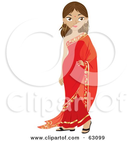 Royalty-Free (RF) Clipart Illustration of a Beautiful Indian Woman Wearing A Bindi And A Red Dress by Rosie Piter
