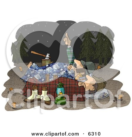 Two Men Camping Together Under the Starry Night Sky Clipart Illustration by djart