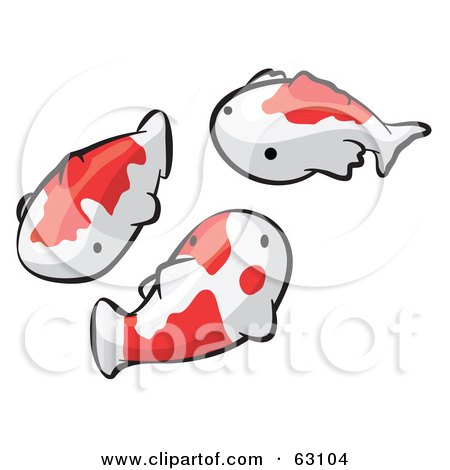 Royalty-Free (RF) Clipart Illustration of Animal Factor White And Orange Koi Fish by Leo Blanchette