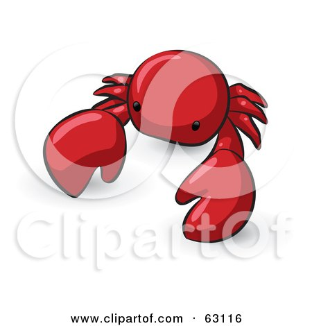 Royalty-Free (RF) Clipart Illustration of an Animal Factor Red Crab by Leo Blanchette