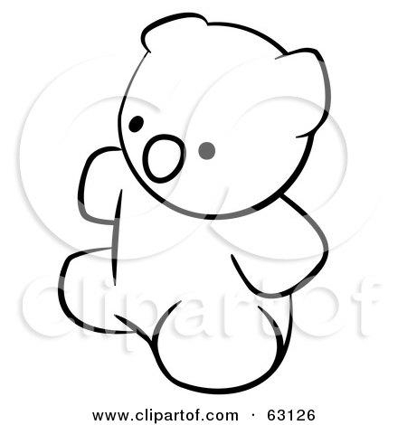 Royalty-Free (RF) Clipart Illustration of a Black And White Human Factor Teddy Bear by Leo Blanchette
