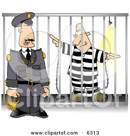 Guard with Keys Standing Beside a Prisoner in Jail Cell Clipart Picture by djart