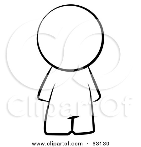 Royalty-Free (RF) Clipart Illustration of a Black And White Faceless Nude Human Factor Man by Leo Blanchette