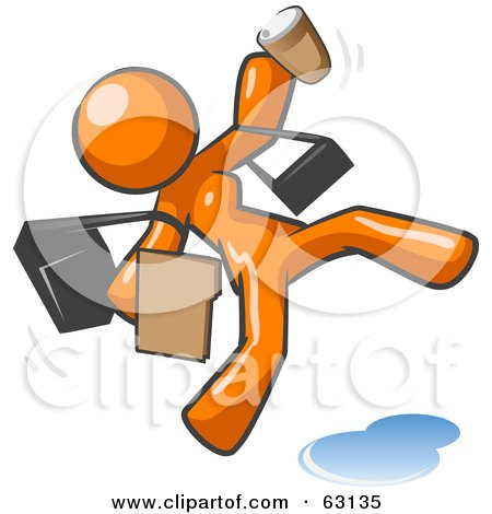Royalty-Free (RF) Clipart Illustration of an Overwhelmed Orange Woman Slipping On A Puddle Of Water by Leo Blanchette