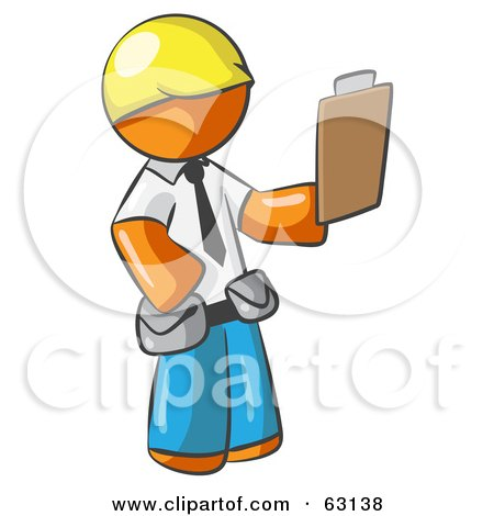 Orange Man Construction Site Supervisor Holding A Clipboard Posters, Art Prints