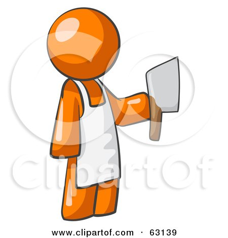 Royalty-Free (RF) Clipart Illustration of an Orange Man Butcher Holding A Meat Cleaver Knife by Leo Blanchette