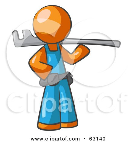 Royalty-Free (RF) Clipart Illustration of an Orange Man Plumber With A Tool by Leo Blanchette