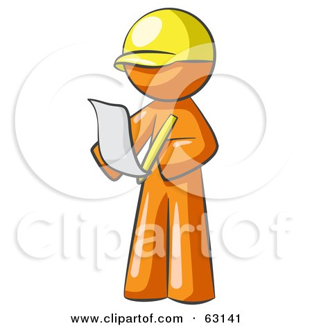 Royalty-Free (RF) Clipart Illustration of an Orange Man Draftsman Reviewing Plans by Leo Blanchette