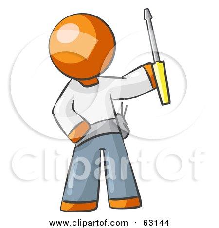 Orange Man Electrician Holding A Screwdriver Posters, Art Prints