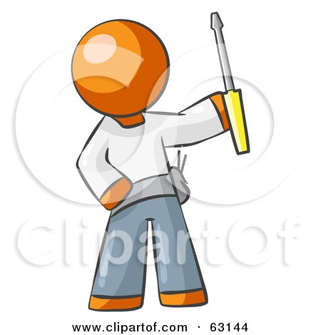 Royalty-Free (RF) Clipart Illustration of an Orange Man Electrician Holding A Screwdriver by Leo Blanchette
