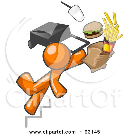 Royalty-Free (RF) Clipart Illustration of an Orange Man Tripping On Stairs, With Fast Food And A Rolling Briefcase Flying by Leo Blanchette