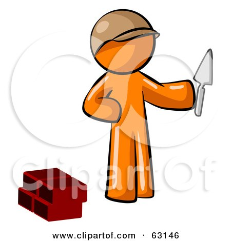Royalty Free RF Clipart Illustration Of An Orange Man Brick Layer Holding A Trowel