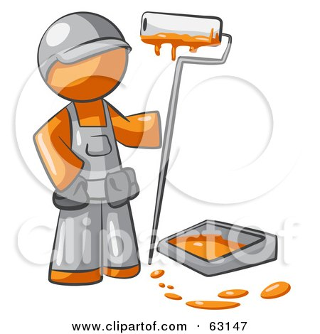 Royalty-Free (RF) Clipart Illustration of an Orange Man Painter With A Paint Pan And Roller by Leo Blanchette