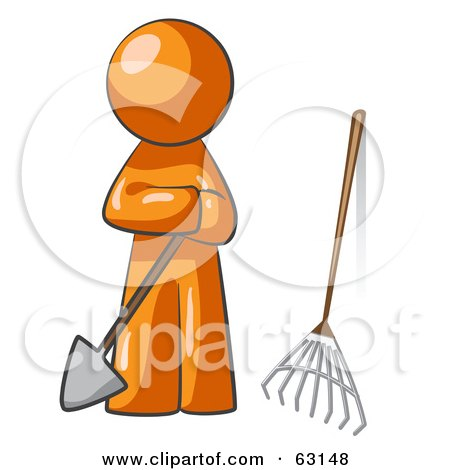 Royalty-Free (RF) Clipart Illustration of an Orange Man Gardener With A Shovel And A Rake by Leo Blanchette